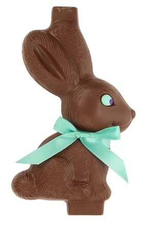 Close-up image of an Easter chocolate bunny over the white surface