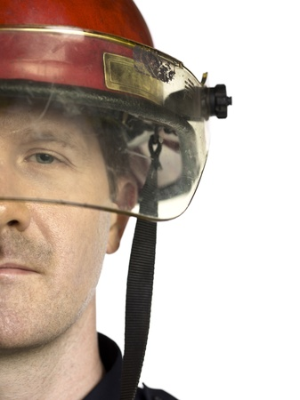 half face: Firefighters half face against the white background