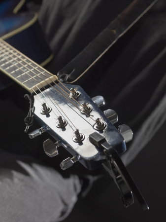 amplified: Close up image of guitar head-stock Stock Photo
