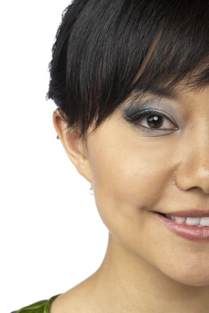 half face: Close up image of half face of a smiling Asian woman against white background