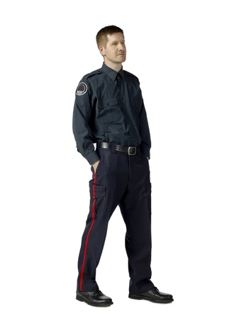 Portrait of male police officer against white background Stock Photo - 17071071