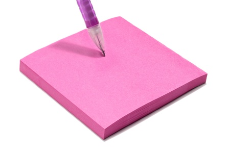 ballpen: Pink office adhesive paper with pink ballpen on white Stock Photo