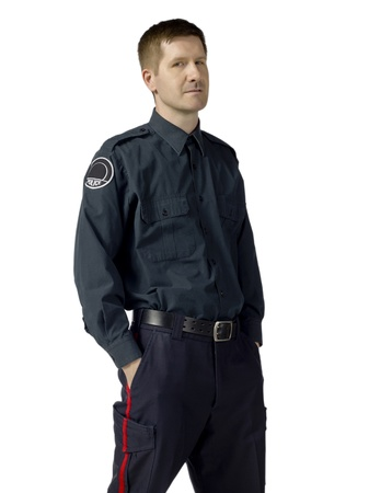 Portrait of a mid-adult policeman in uniform standing over a white background Stock Photo - 17084332
