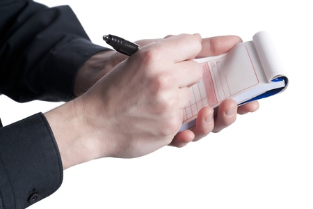 Close up of police officer writing a citation Stock Photo - 16999201