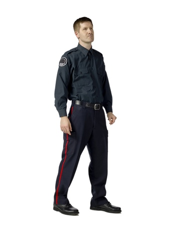 deputy: Full length image of a policeman standing alone on a white background
