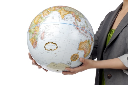 Tourism and travel concept represented by a woman holding a globe photo