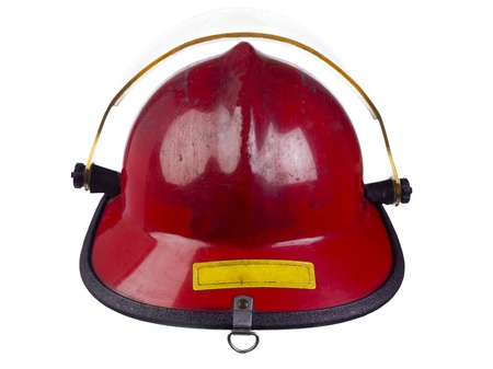 up close image: Up close image of a head wear for fireman against white background Stock Photo
