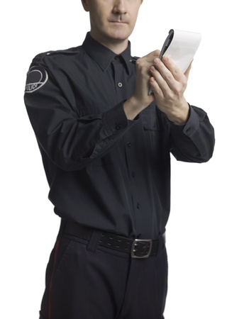 Cropped image of a writing police officer Stock Photo - 17084230
