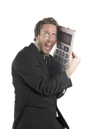Portrait of a mad Accountant hugging a giant calculator photo