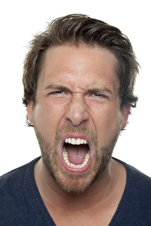 Portrait of angry man shouting against white background Stock Photo - 17106686