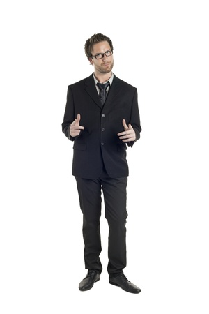 Portrait of attractive businessman gesturing a pose against white background Stock Photo - 17109212