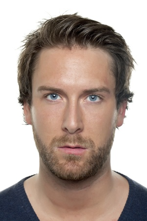 good looking man: Close-up image of a face of a good looking man looking at the camera on a white background