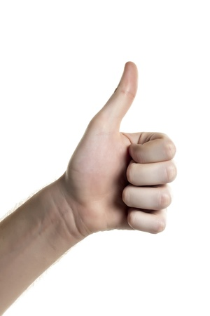 alright: Close-up image of human hand gesturing approved isolated on a white background Stock Photo