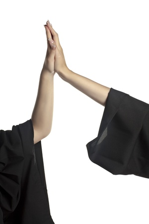 Close-up image of a hand doing high five against the white background Stock Photo - 17084813
