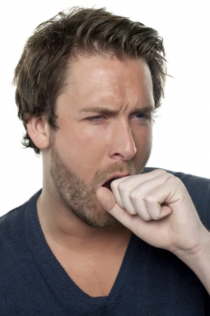cough: Close-up image of a man having a cough over the white background