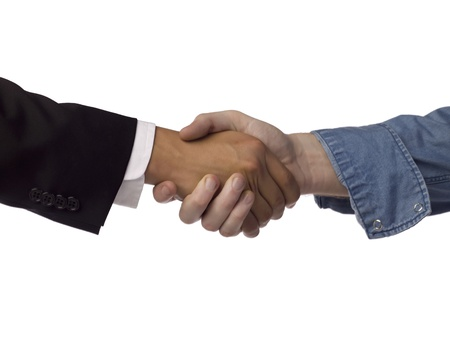Close up image of business partnerships against white background Stock Photo - 17085118