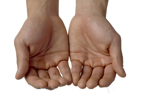 Closed up shot of a cupped empty hands over a white background