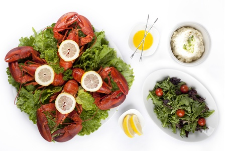 Image of delicious lobster dish with salad and lemon slice against white background photo