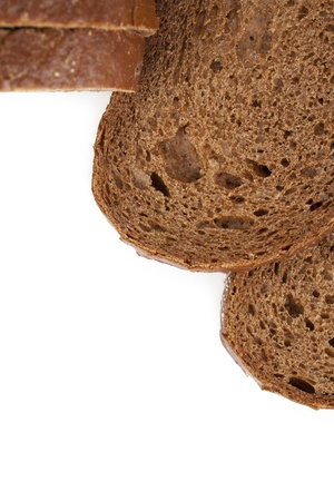 pumpernickel: Close up image of Pumpernickel bread slices against white background Stock Photo