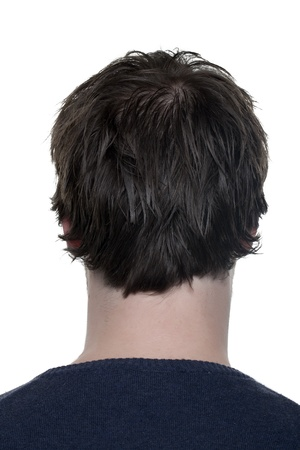 Rear view image of a mans head against the white surface Imagens