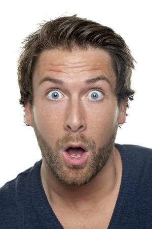 Close up image of shocked man face against white background