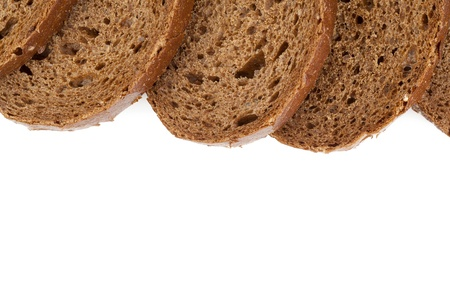 pumpernickel: Cropped image of slices of pumpernickel bread on white background