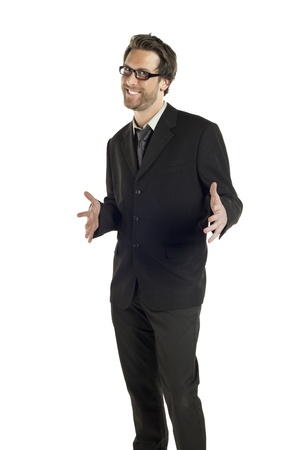 Portrait of smiling businessman gesturing a pose against white background Stock Photo - 17085133