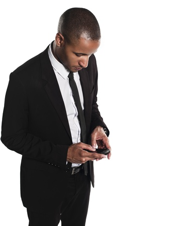African American businessman typing text message over white background, Model: Kareem Duhaney Stock Photo - 17110212