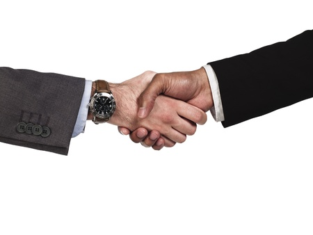 Cropped image of business people greeting eachother over white background, Model: Kareem Duhaney photo