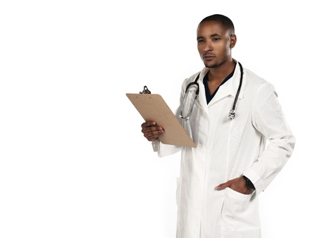 Shot of a doctor holding a clipboard. Model: Kareem Duhaney Stock Photo - 17110174