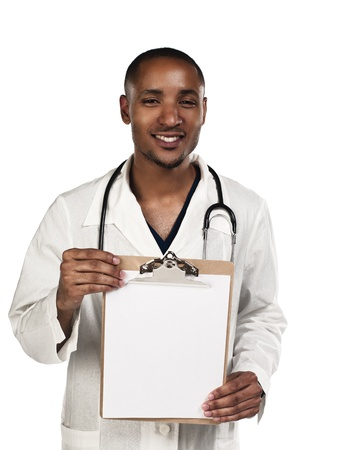 Happy young doctor displaying his clipboard against white background, Model: Kareem Duhaney Stock Photo - 17111149