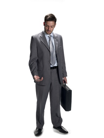 Photo of a man in a suit isolated on white. photo