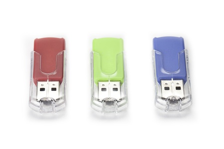 Portable usb in three different colors. Stock Photo - 17100069