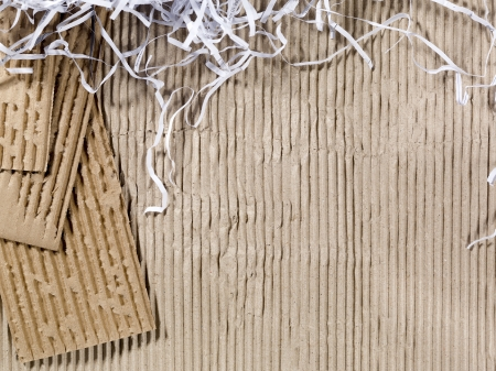 crinkle: A close-up shot of a recycled brown card board