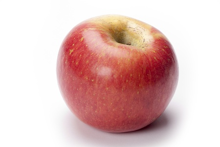 Ripe red apple photographed up close against a white background. Stock Photo - 17100578