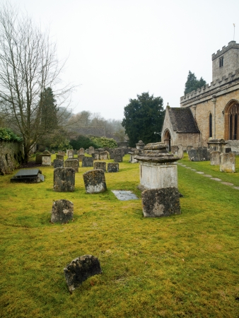 An old cemetery with scattered headstones in England Stock Photo