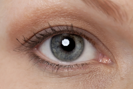 Close up image of grey eye of a woman