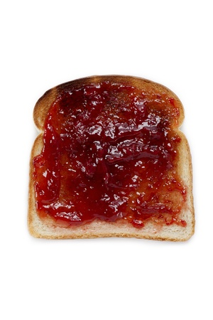 Bread toast with jam displayed on white background. Stock Photo - 17134724