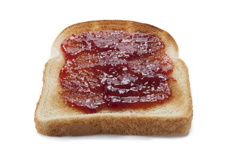 Bread toast with jam on it displayed on white background. photo