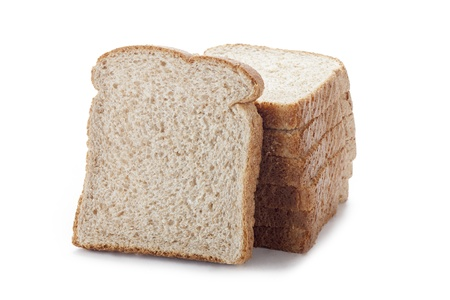 displayed: Brown bread slices displayed on white background.