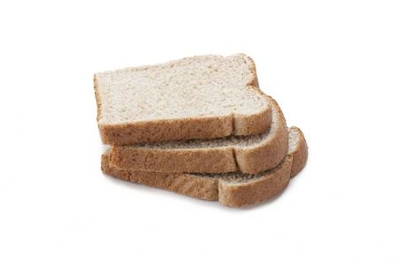 Close-up of three bread slice isolated on white background.