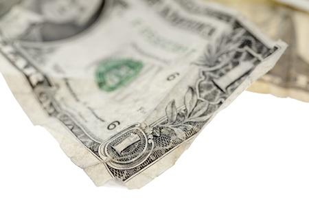 Closed up image of  crumple dollar on white background Stock Photo - 17134715