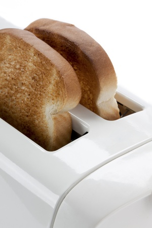 Cropped close-up image of a toaster. photo