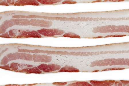Cropped close-up shot of sliced bacon. photo