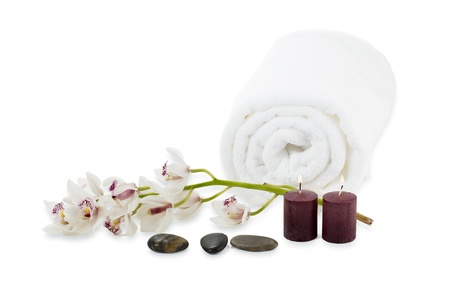 Close-up shot of spa items on white background. Stock Photo - 17134574