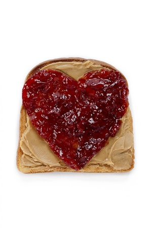 Toast with peanut butter and jam isolated on white background. Stock Photo - 17134726