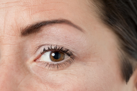 Close up image of woman's brown eye