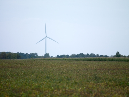 View of a wind turbine in a field with clear sky in the background. Stock Photo - 17135272