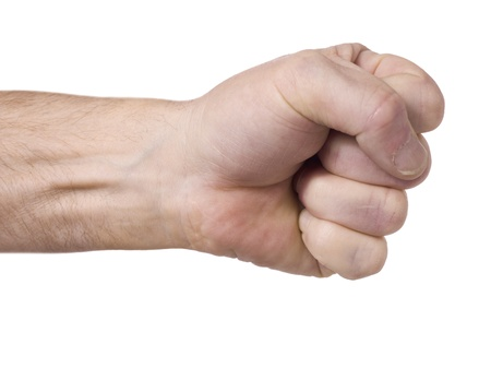 Isolated image of a clenched fist over a white background photo