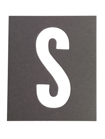 cut paper: Image of cut out paper letter S against white background Stock Photo